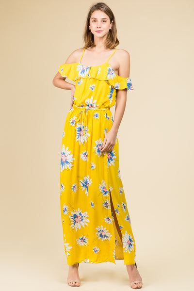 YELLOW FLORAL OFF THE SHOULDER RUFFLE MAXI