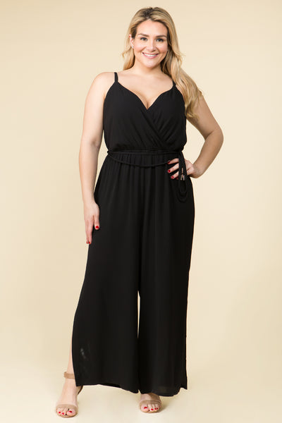 PLUS SIZE  SOLID SURPLICE ELASTICIZED WAIST JUMPSUIT