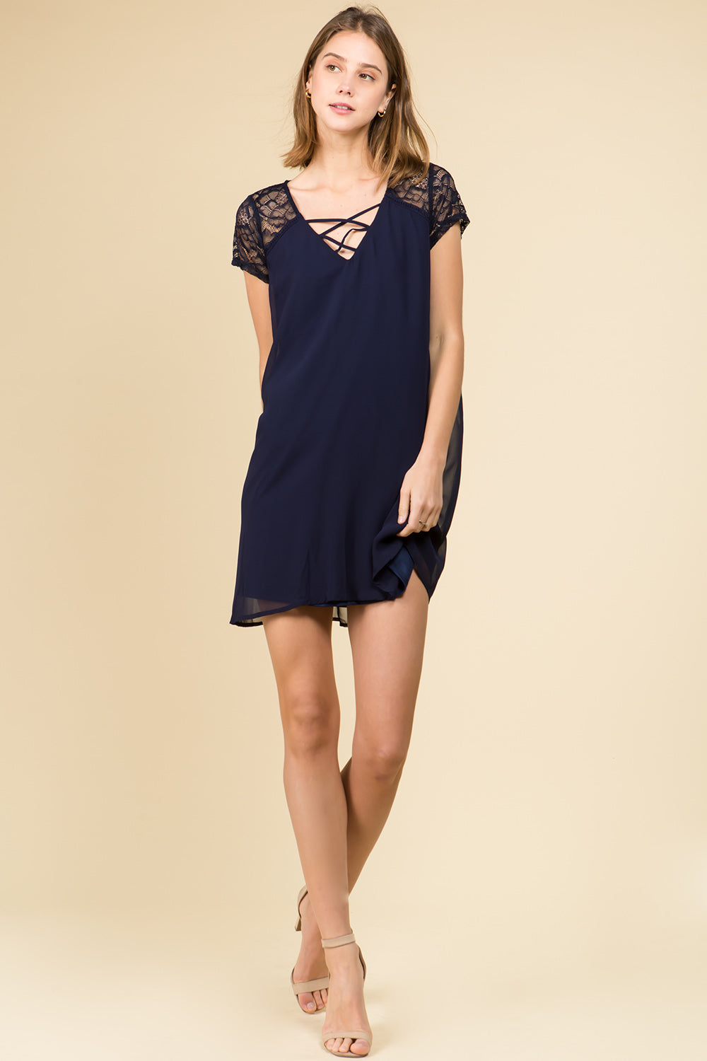 LATTICE FRONT LACE SHOULDER MINI DRESS