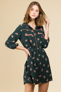 HUNTER GREEN FLORAL SHIRT DRESS WITH POCKETS