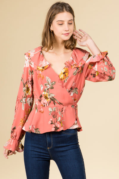 RUFFLED DETAILED FLORAL WAIST TIE TOP
