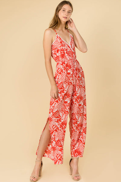 TROPICAL LEAF PRINT FULL LENGTH JUMPSUIT WITH SIDE SLITS