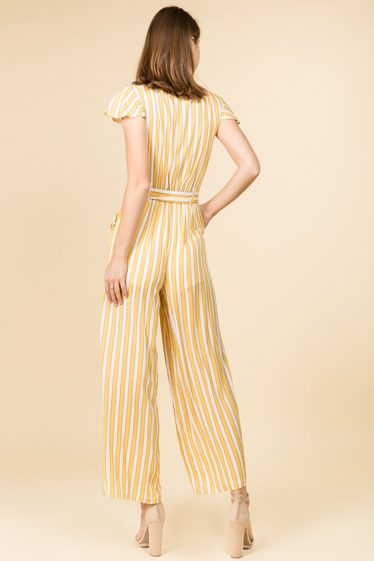 BUTTON DOWN SHORT SLEEVE JUMPSUIT IN YELLOW STRIPE