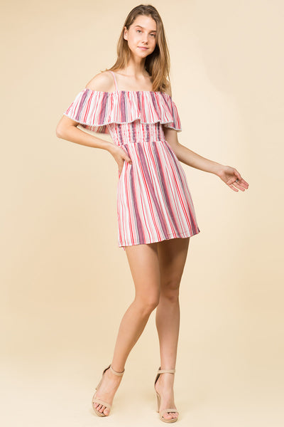 MUTI STRIPE OFF SHOULDER RUFFLED MINI DRESS WITH ADJUSTABLE STRAPS