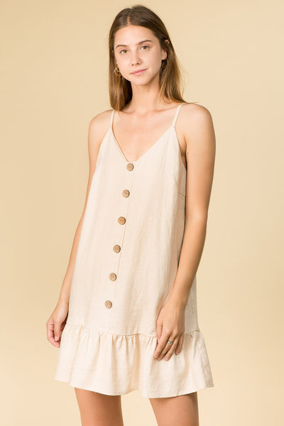 SAND COLOR LINEN CAMI MINI DRESS