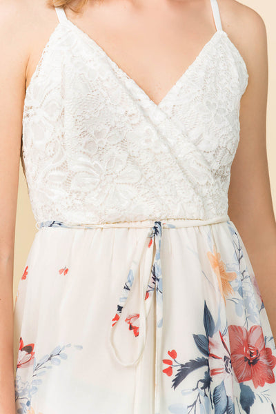 SURPLICE LACE TOP MAXI DRESS WITH IVORY FLORAL SKIRT AND ADJUSTABLE STRAPS