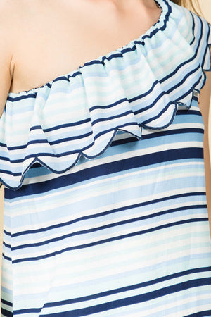 ONE SHOULDER SCALLOP RUFFLE MINI DRESS WITH WASIT TIES IN MULTI STRIPE