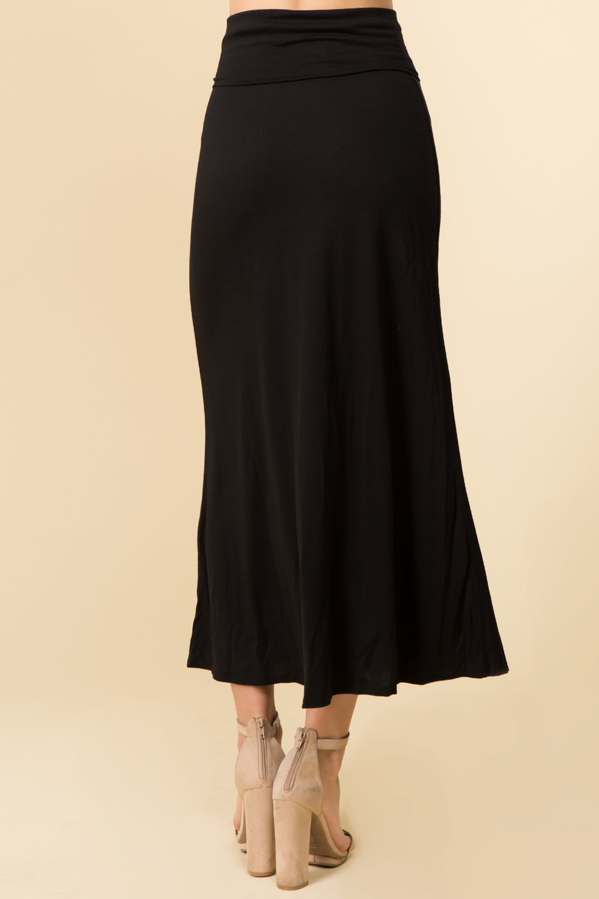 HIGH FOLDED WAIST BASIC MAXI SKIRT