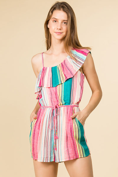 MUTI STRIPE OFF THE SHOULDER MINI ROMPER WITH ADJUSTABLE STRAP