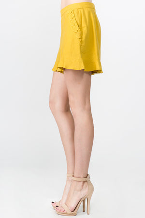 HIGH WAIST SHORTS WITH RUFFLED DETAILING AND TRIM ON SIDE