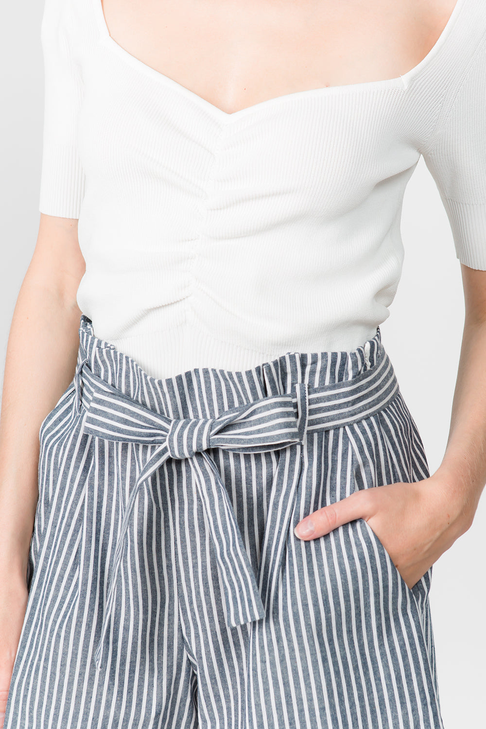 STRIPED COTTON PAPER BAG SHORTS WITH TIE BELT