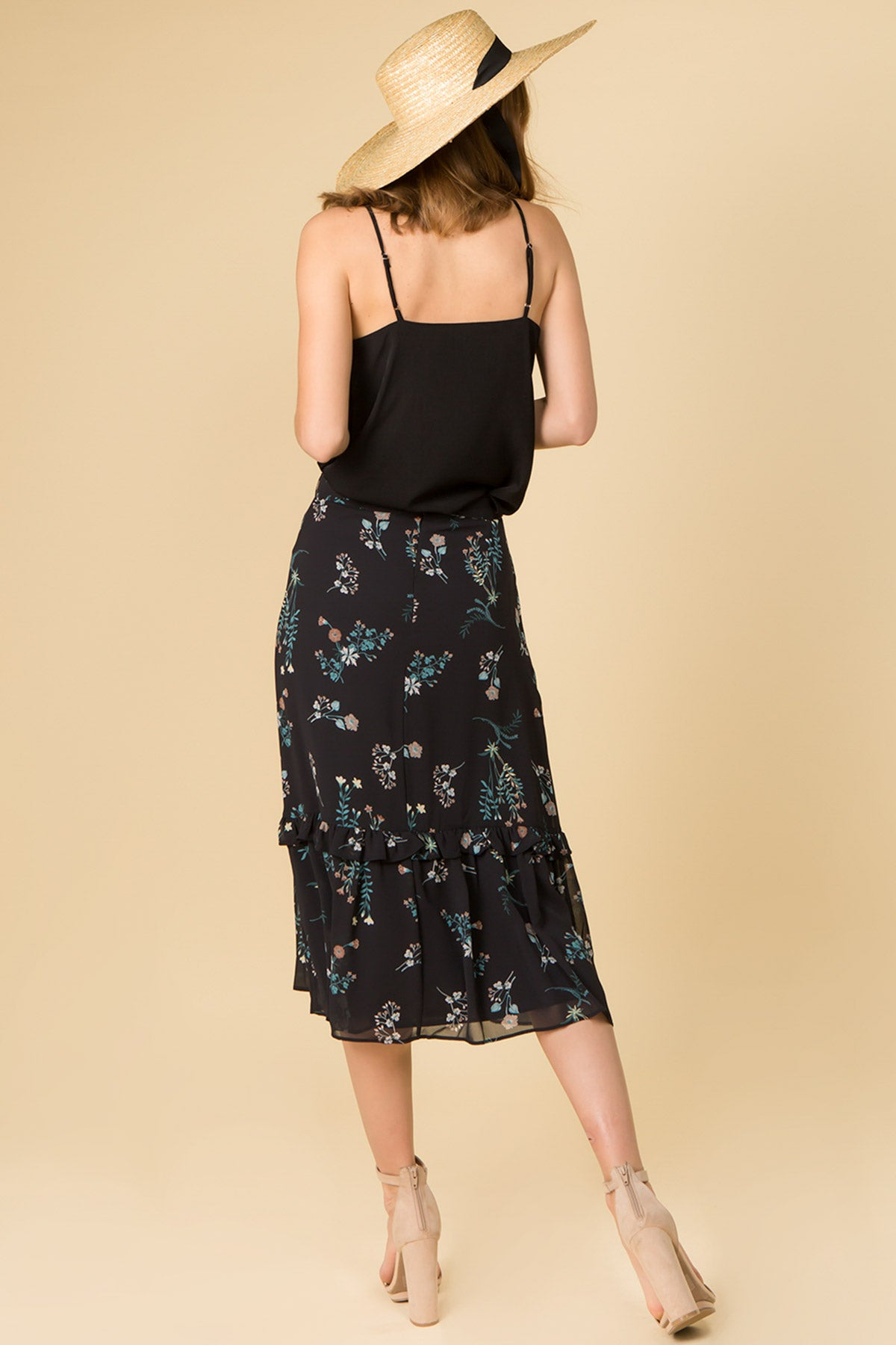 FLORAL PRINT RUFFLE SKIRT WITH WAIST TIES