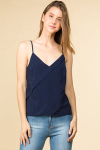ASYMMETRICAL BINDING  V NECK CAMI TOP WITH ADJUSTABLE STRAP