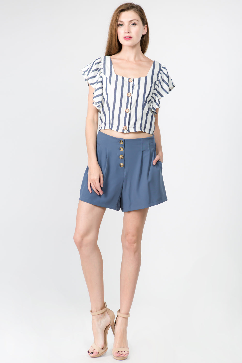 BUTTON DOWN HIGH WAIST SHORTS WITH POCKETS
