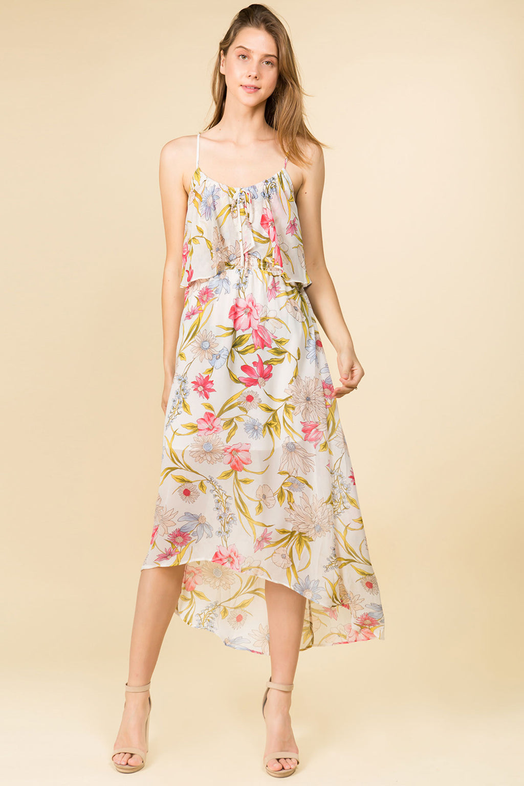 FLORAL HIGH-LOW POPOVER SMOCKED DRESS WITH ADJUSTABLE STRAPS