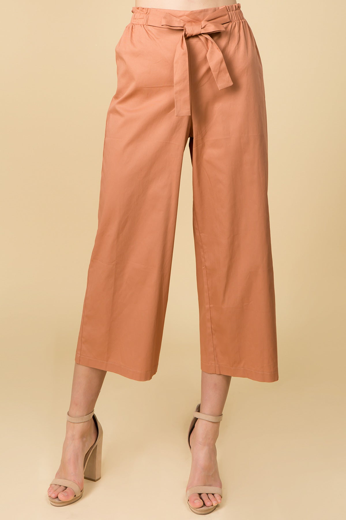 HIGH WAIST MIDI PANTS WITH WAIST TIES