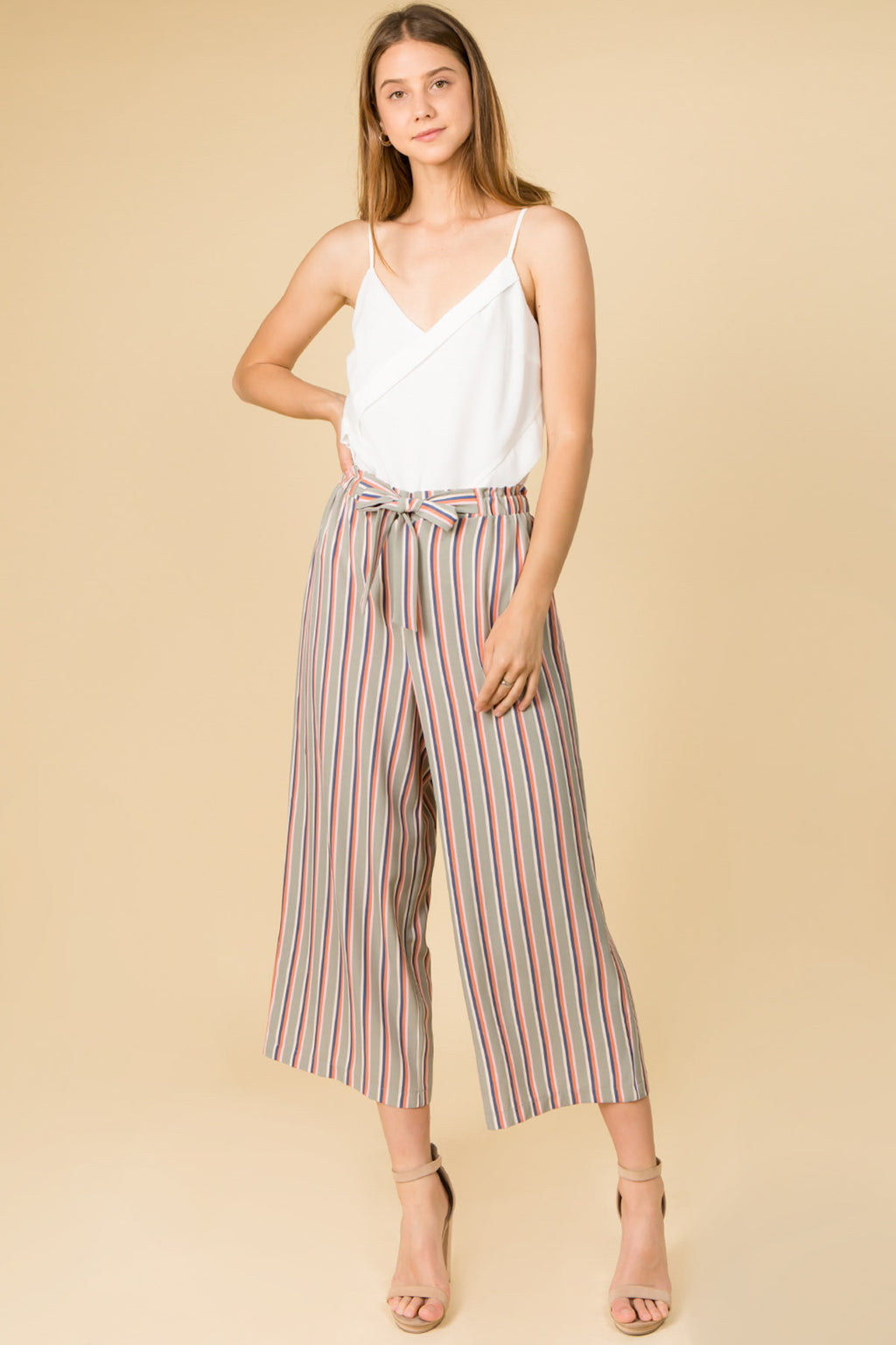 MULTICOLOR STRIPE WIDE PANTS WITH WAIST TIE