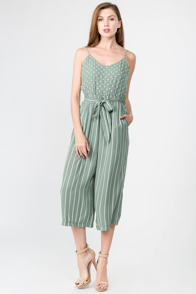 MIXED PRINT HIGH WAIST JUMPSUIT WITH WAIST TIES