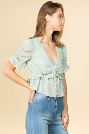 EMBROIDERED FLORAL PUFF SLEEVE V-NECK BLOUSE WITH RUFFLE DETAIL