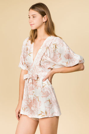RUFFLE DETAIL V NECK SHORT ROMPER WITH WAIST TIE