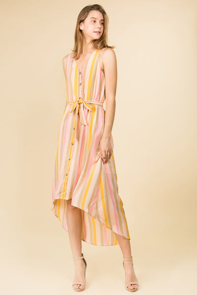 MULTI COLOR STRIPE HIGH AND LOW WAIST TIE DRESS