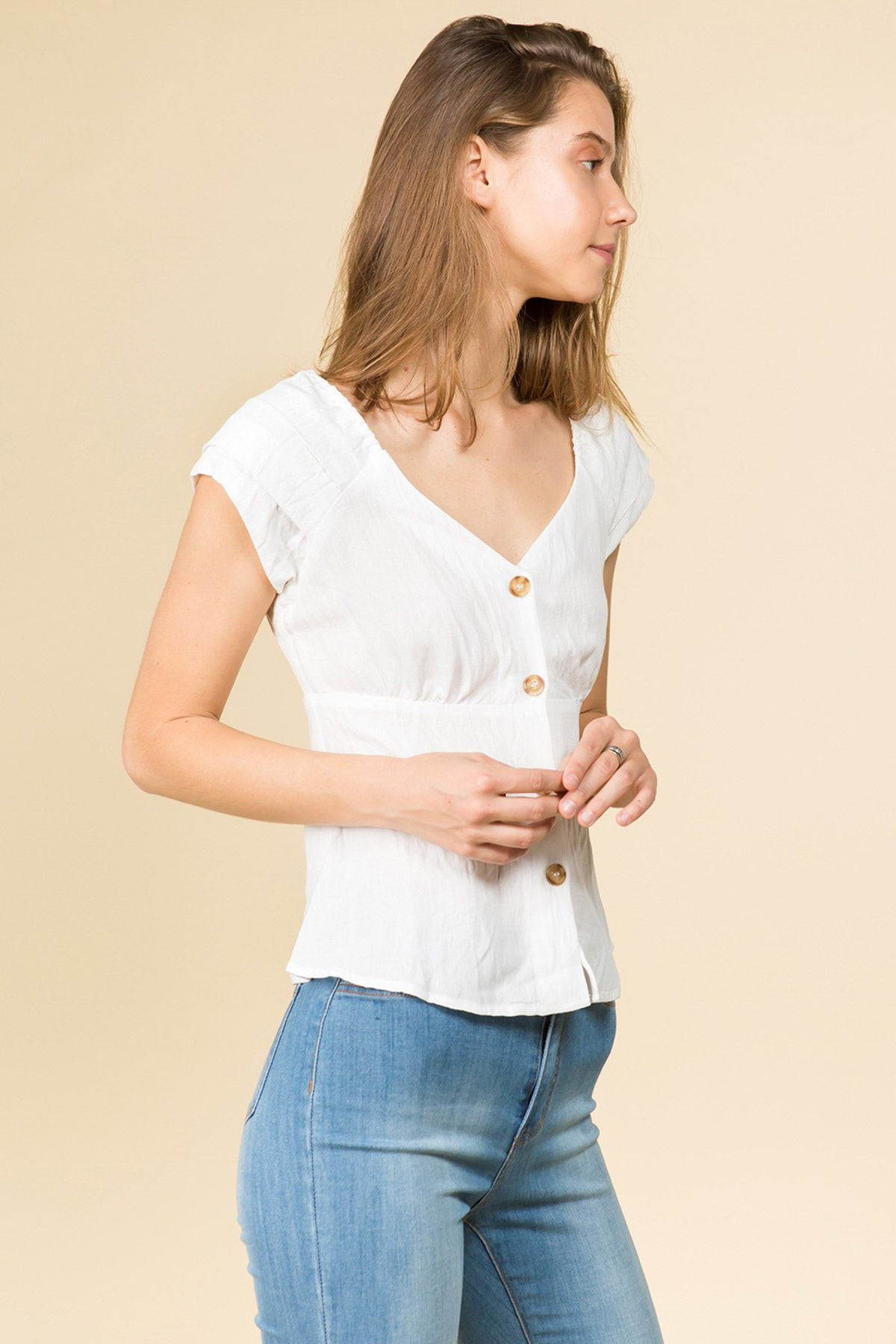 BUTTON FRONT IVORY BLOUSE WITH PLEATED SLEEVES