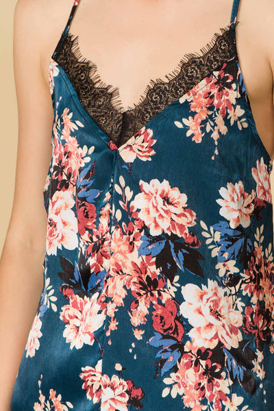 FLORAL PRINT LACE CAMI WITH ADJUSTABLE STRAPS