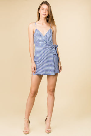 STRIPED SIDE TIE WRAP DRESS WITH ADJUSTABLE STRAP