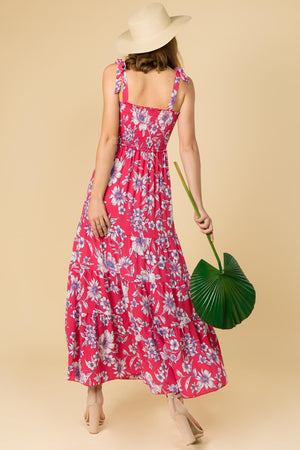 FLORAL PRINT MAXI DRESS WITH SMOKED TOP