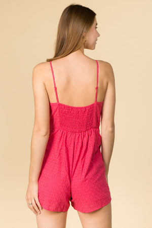 KNOT FRONT BERRY COLOR ROMPER WITH ADJUSTABLE STRAPS