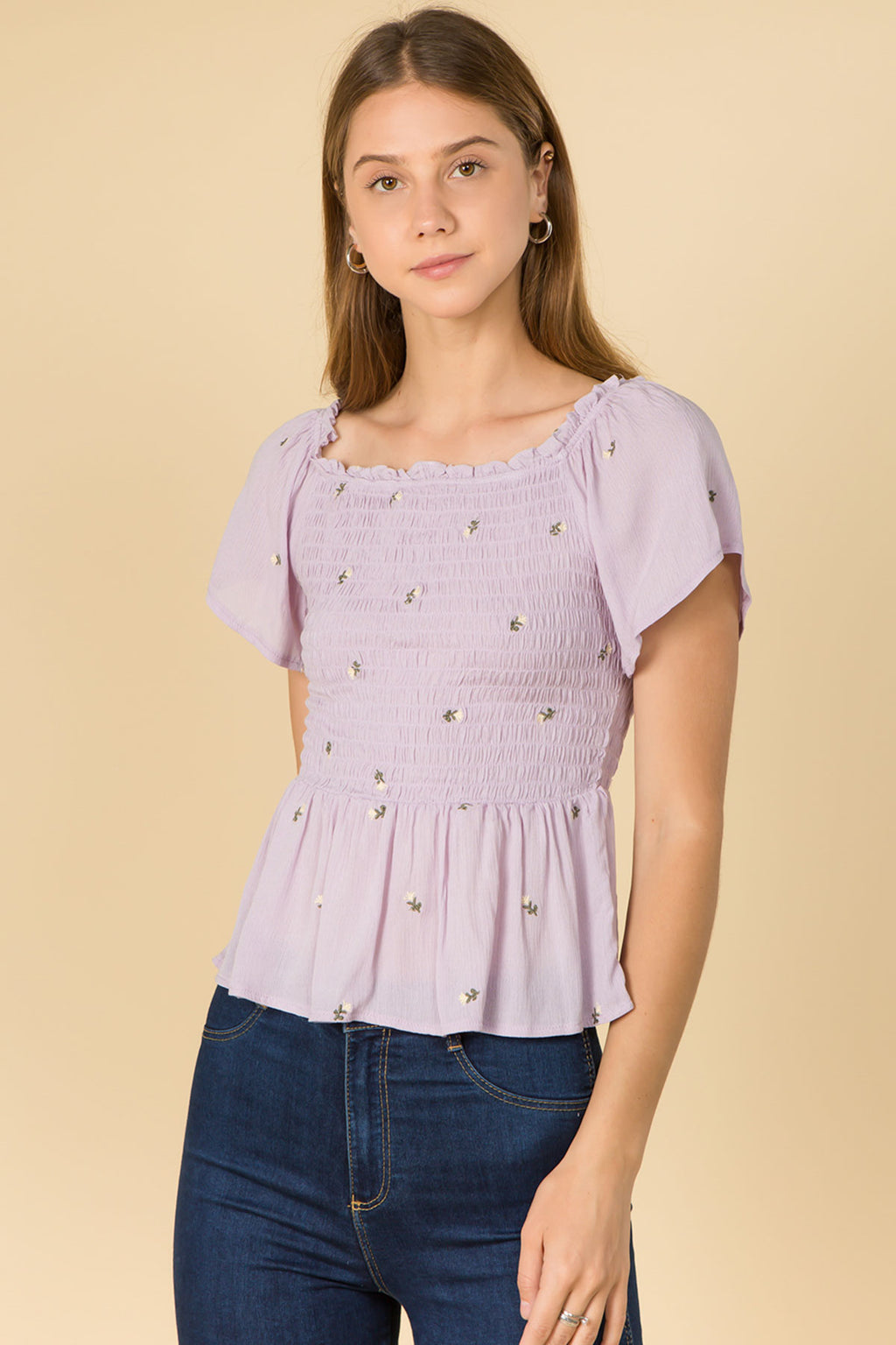 SHORT SLEEVE EMBROIDERED MINI ROSE  SMOKED TOP