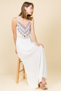 BOHO MAXI DRESS WITH WAIST TIES AND TASSEL