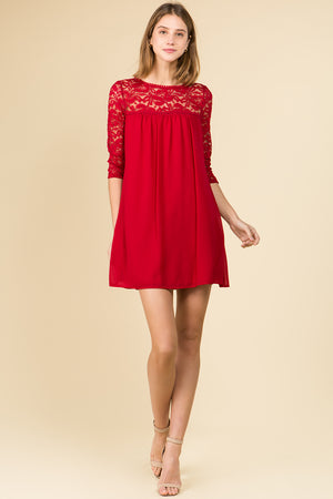 3/4 SLEEVE BABYDOLL DRESS WITH LACE TRIM  *STEADY SELLER
