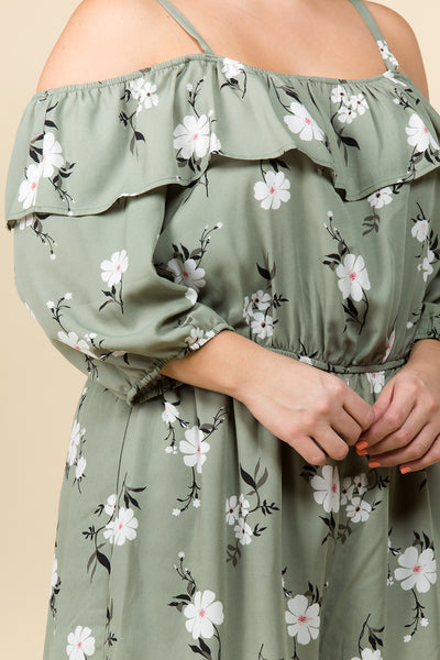PLUS SIZE OFF THE SHOULDER FLORAL RUFFLE ROMPER