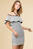 OFF SHOULDER BODYCON STRIPE RUFFLE SLEEVE DRESS