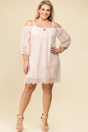 PLUS SIZE OFF THE SHOULDER FLORAL LACE MINI DRESS