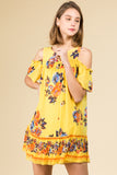 COLD SHOULDER MINI RUFFLE DRESS WITH BORDER PRINT DETAIL IN YELLOW FLORAL