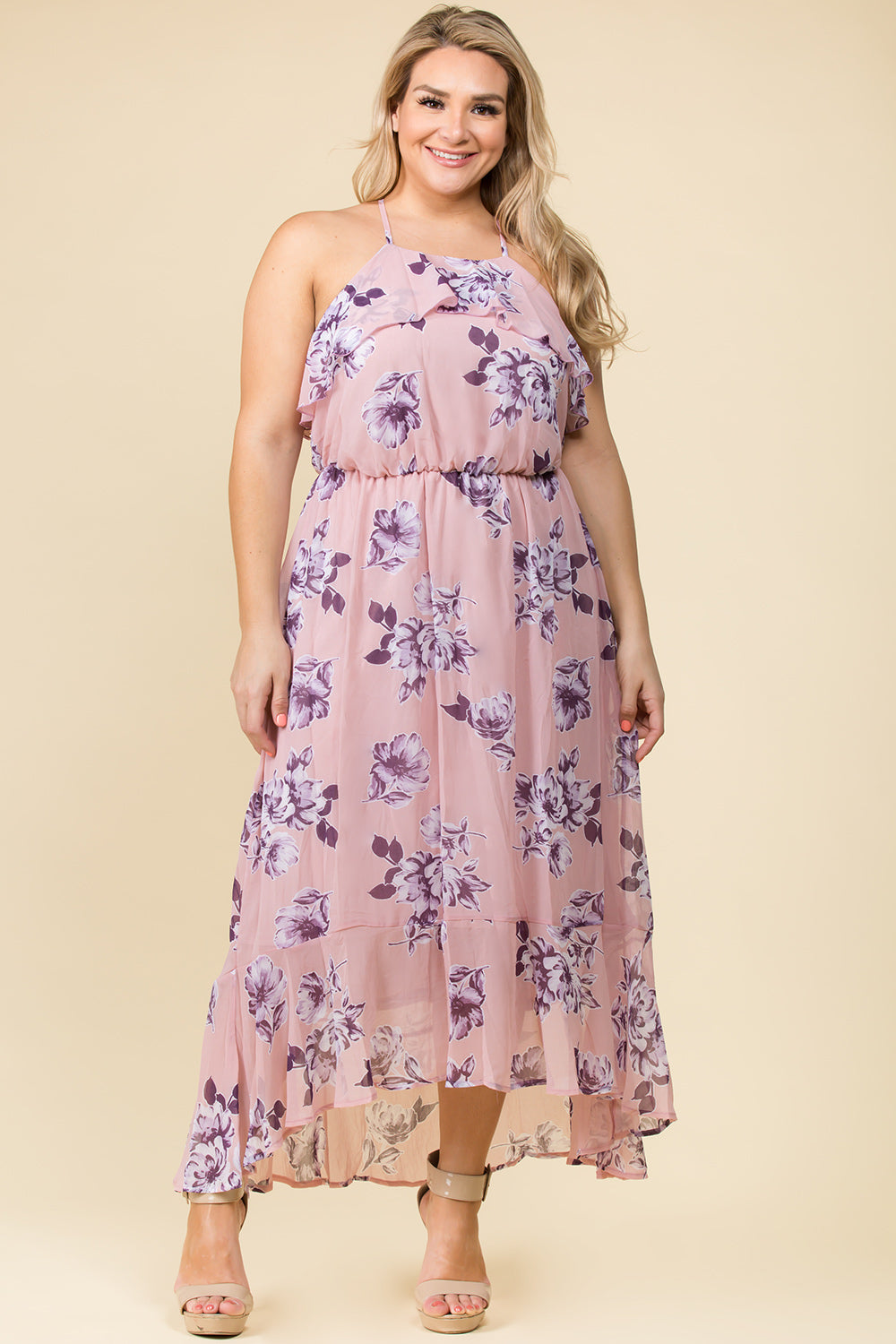 PLUS SIZE RUFFLE CRISS CROSS BACK MAXI DRESS IN BLUSH FLORAL