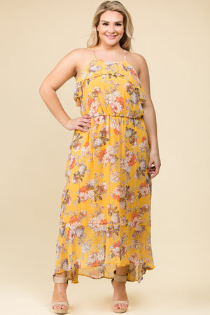 PLUS SIZE RUFFLE CRISS CROSS BACK MAXI DRESS IN GOLD FLORAL