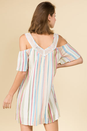 EARTH TONE STRIPE PRINT COLD SHOULDER DRESS WITH V NECK LACE DETAIL