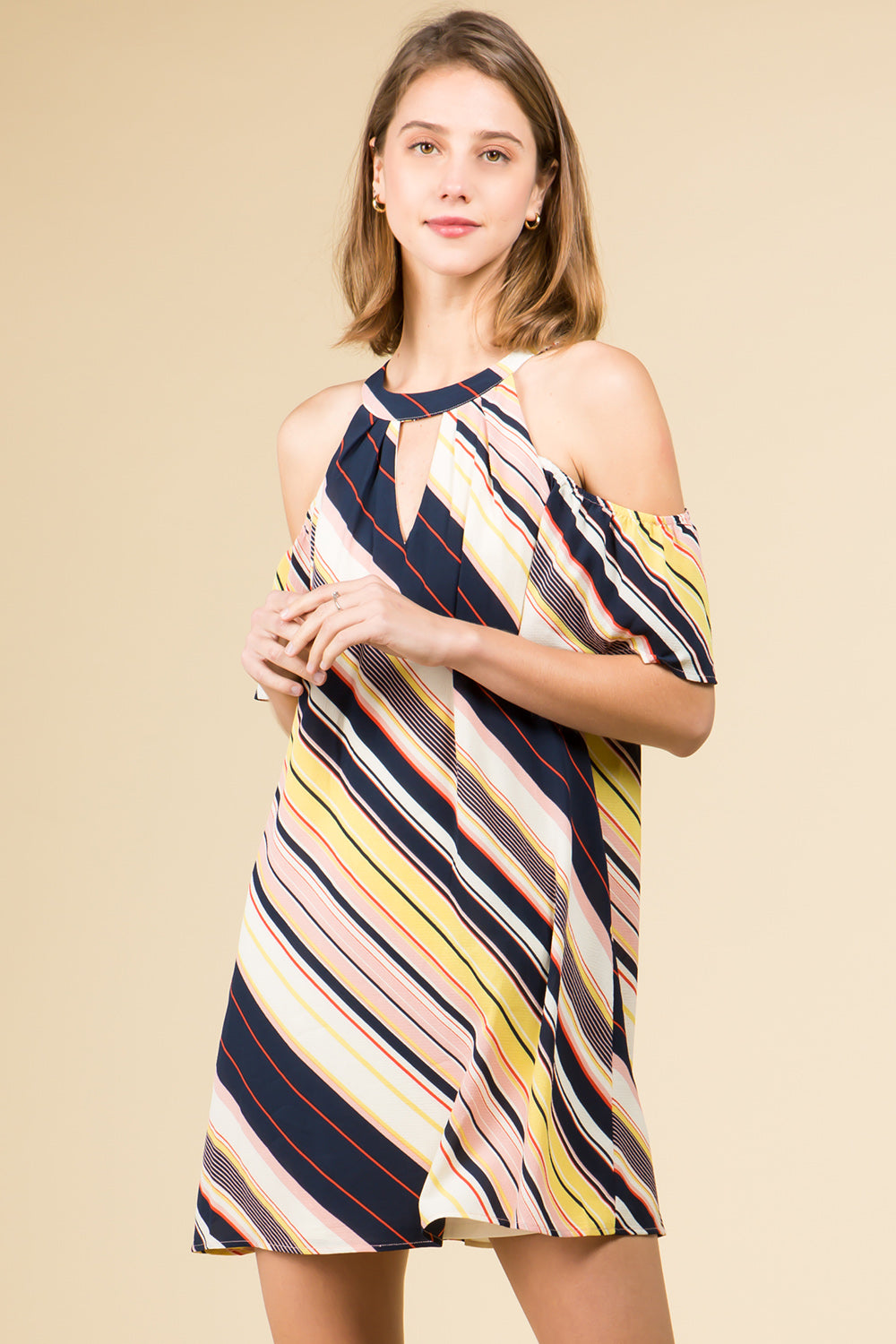 MID MODERN CENTURY STRIPED COLD SHOULDER DRESS WITH HIGH NECK