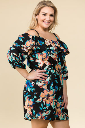 PLUS SIZE TROPICAL FLORAL PRINT RUFFLED OFF THE SHOULDER ROMPER