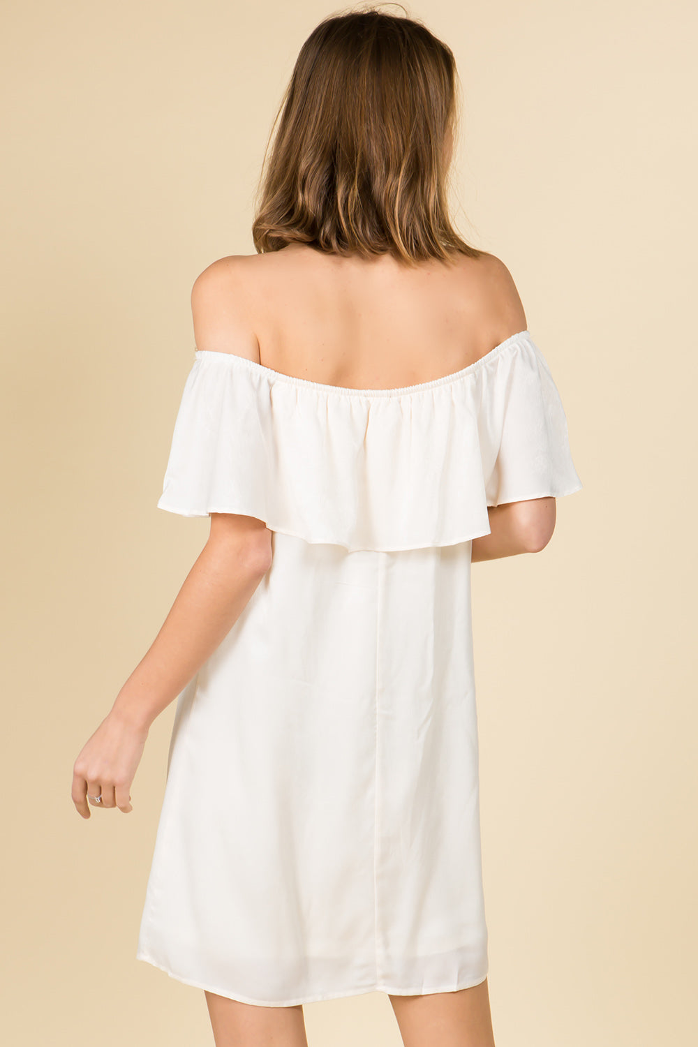 OFF THE SHOULDER RUFFLE SILKY MINI DRESS