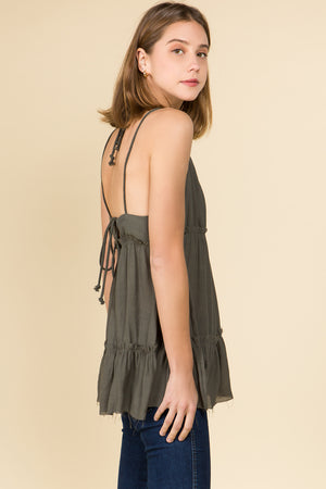 CORD TRIM TIER TANK RUFFLE TOP