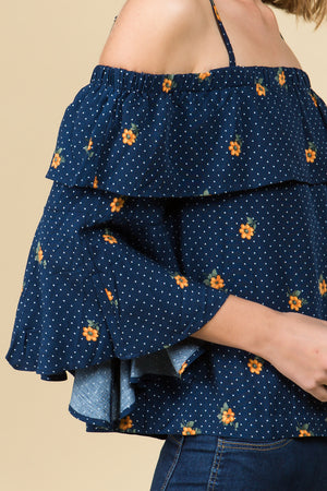 OFF THE SHOULDER BELL SLEEVE TOP IN NAVY FLORAL
