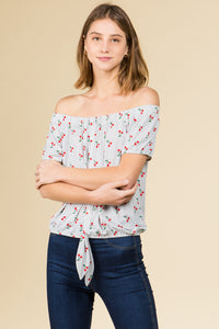 OFF SHOULDER TIE FRONT PULL OVER IN CHERRY PRINT WITH SHORT SLEEVE
