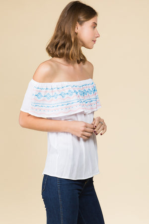 OFF THE SHOULDER EMBROIDERY DETAIL TOP