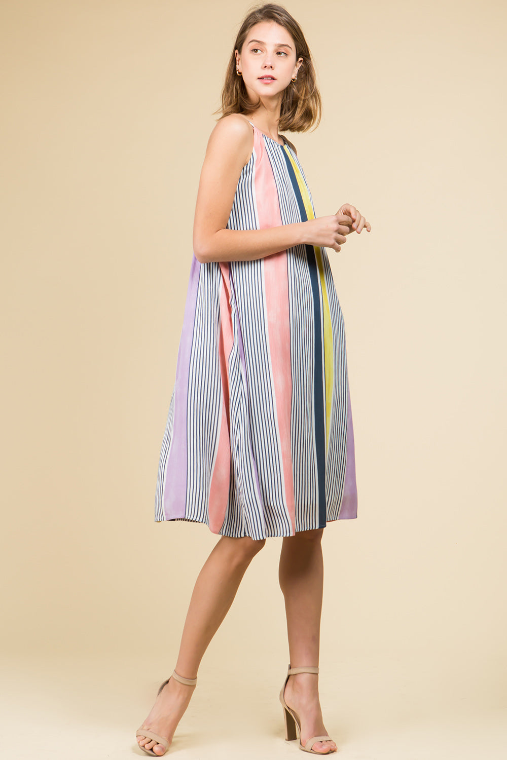 HIGH NECK STRIPED MIDI DRESS WITH TIE BACK DETAIL