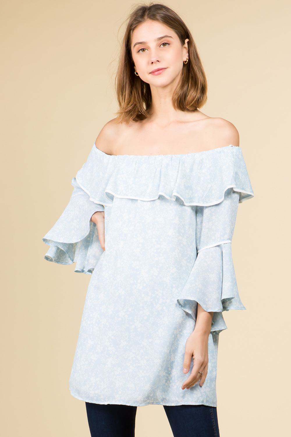 OFF SHOULDER RUFFLE TOP WITH BELL SLEEVES