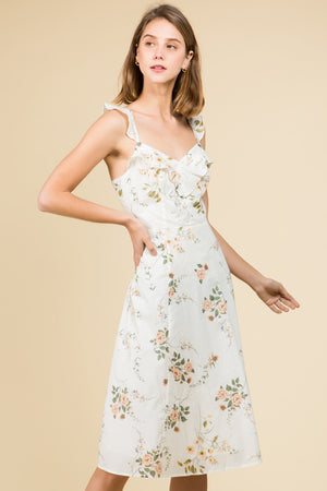 TIE BACK RUFFLE DETAIL FLORAL PRINT MIDI DRESS